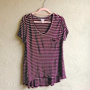 ♏️ Maroon and White Striped Tee